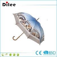 Wood Umbrella large umbrella with dog printing