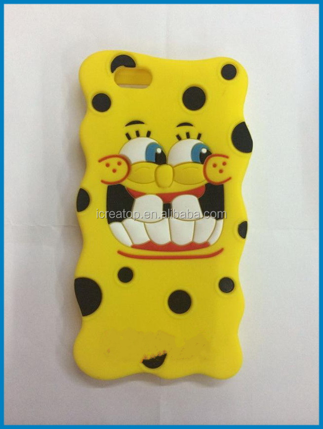 Hot sale funny shape custom silicone phone case ,Cute SpongeBob SquarePants Soft Silicone cover custom 3d silicone phone shell