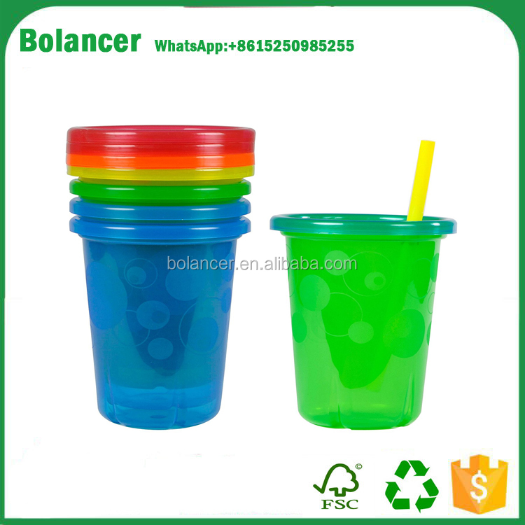 Bolancer Take & Toss Spill-Proof Straw Cups - 10Oz, 4 Pack