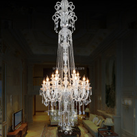 size customized E14 big hotel chandelier crystal clear color