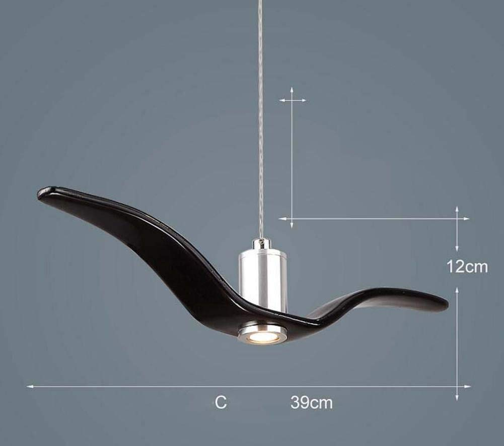 Onfly Seagull LED Chandelier Single Head Pendant Lamp Modern Minimalist Bird Hanging Lamp Restaurant/bar/bedroom Deco Indoor Lights (Color : Black, Size : C)