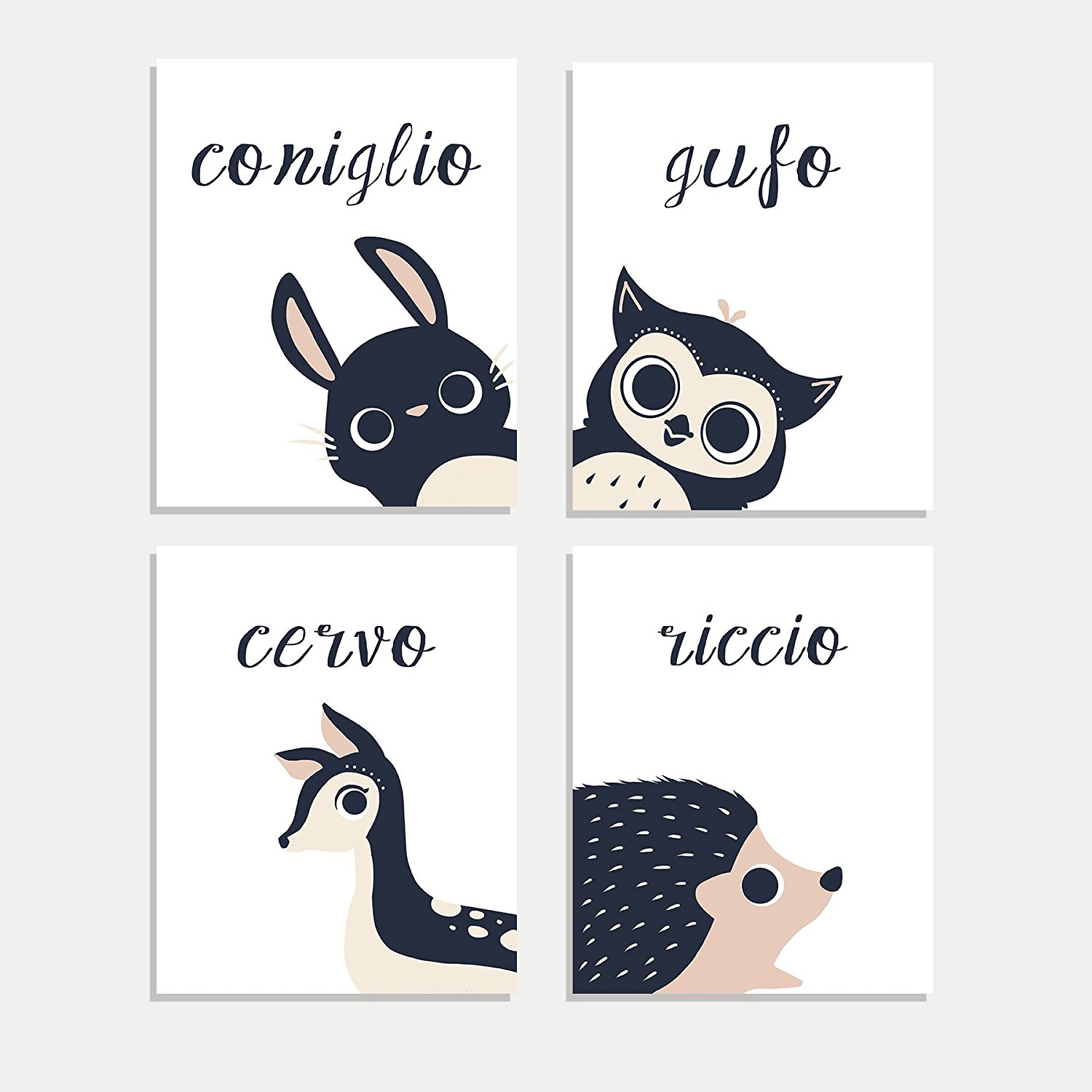 Peeking Animal Collection in Italian, Children's Wall Art, Set of Four 8x10 Prints, Woodland Animals, Rabbit, Deer, Owl, Hedgehog, Woodland Nursery, Kids Room, Baby Room Decor, Animals Wall Decoration