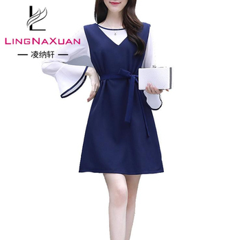 korean bell sleeve maxi new fashion light blue prom lady dress uniform