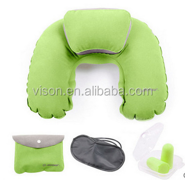 inflatable PVC travel set/neck pillow/earplug/eye mask/storage bag