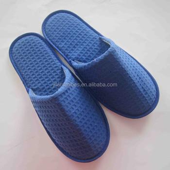 Men's Blue Waffle Hotel Slippers,Men Slippers