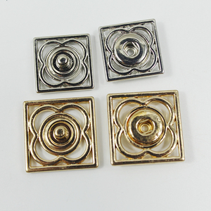 Hot sale fashionable metal square flower pattern buttons