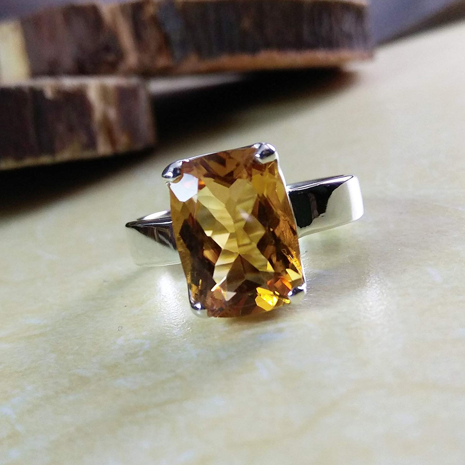 Citrine Engagement Ring, Natural Citrine Ring, Solid 925 Sterling Silver Jewelry, Solitaire Engagement Ring, Gemstone Engagement Ring, November Birthstone, Healing Gemstone Ring, Minimalist Jewelry