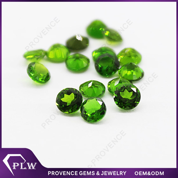 Wholesale loose gemstone natural small round brilliant cut chrome diopside
