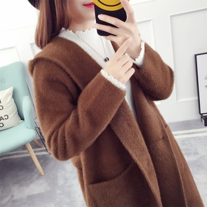 Belt Lace Women's Sweater Overcoat Custom Knitted Cashmere Imitated Mink Wool Hooded Long Cardigan