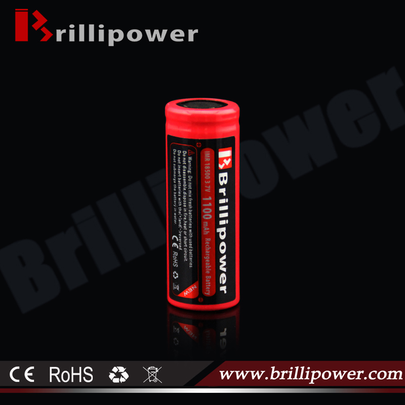 Brillipower high quality 3.7v 18500 1100mah li-ion battery pack /18500 high amp 16.5A ecig battery
