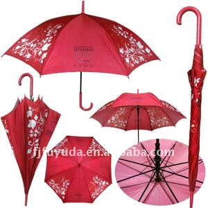 red Avon advertising umbrella