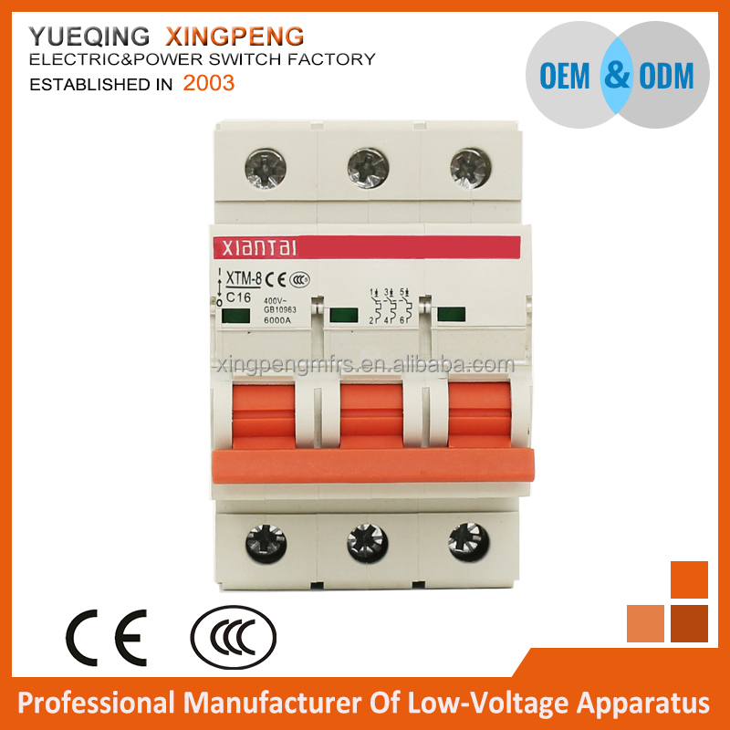 Circuit breaker C65,minature circuit breaker C65 3 pole 16amp 380v 6ka,breaking capacity