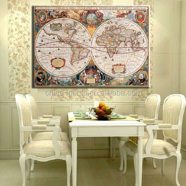 canvas map prints wall arthanging wall mapfabric world map vintage