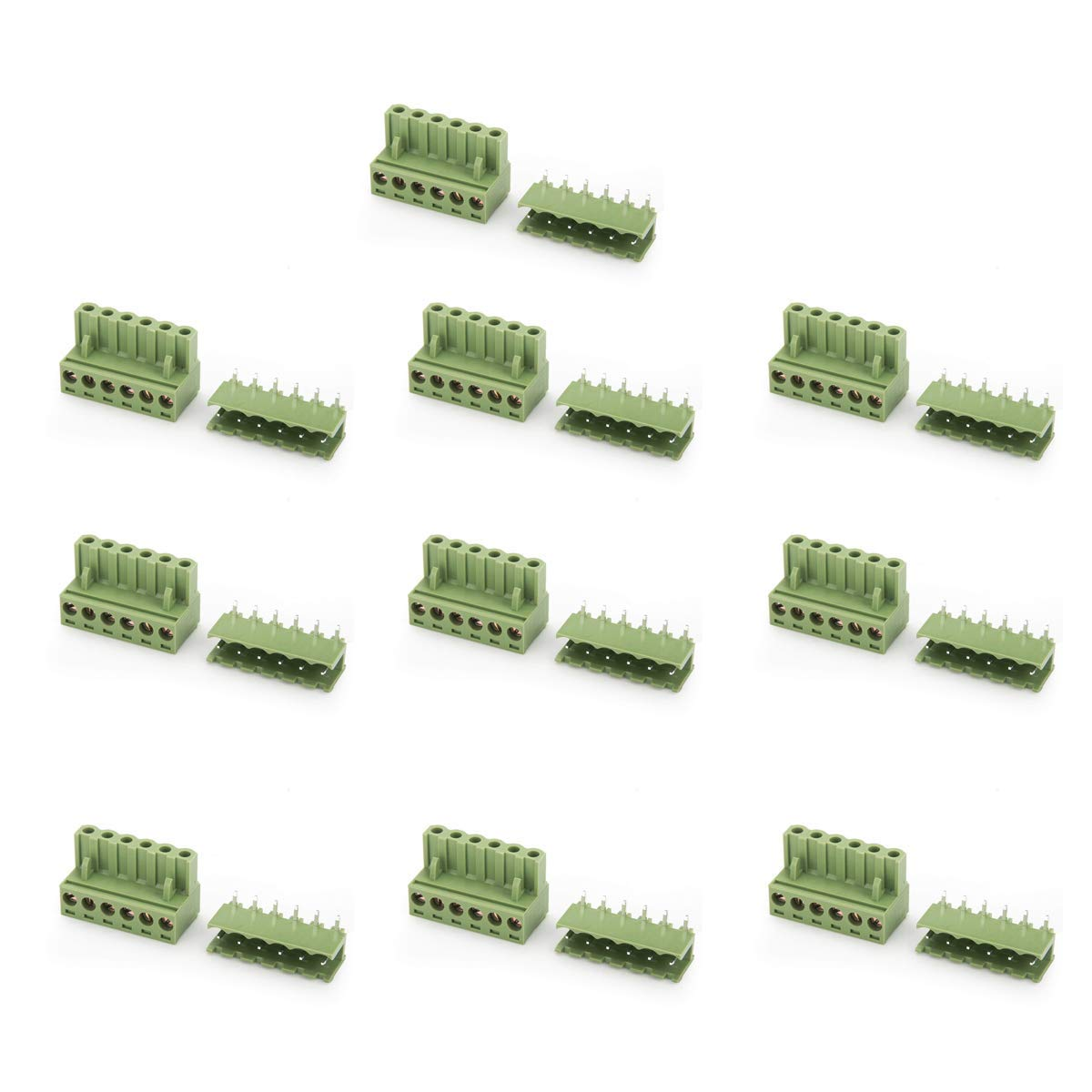DIYhz 10PCS 300/320V 10/15A 5.08mm 6 Pin Plastic Parts Socket PCB Screw Pluggable Terminal Block Connector for All Kinds of Electronic Products or Electronic Cables