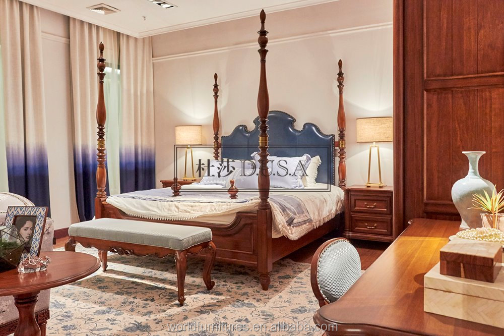 Royal wooden furniture french style bedroom furniture bed