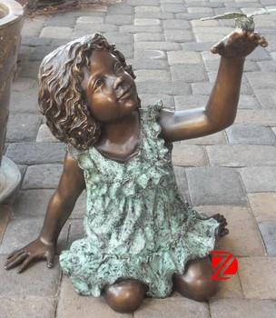 Bronze Reading Girl Garden Statue Playing A Bird
