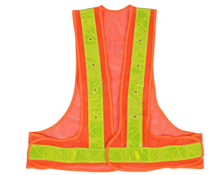 High Visibility reflective safety clothing for men Fluorescent <strong>orange</strong> led safety vest
