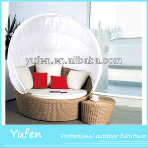 Outdoor wicker 2pcs rattan sun bed with sunshade