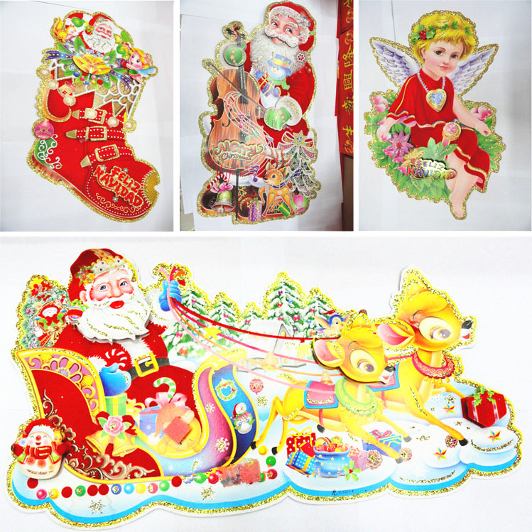 2015 wall sticker for christmas 3d christmas window for 3d christmas decoration