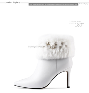 Sexy lady women wedding dress rhinestone ankle cow leather high heel fur boot