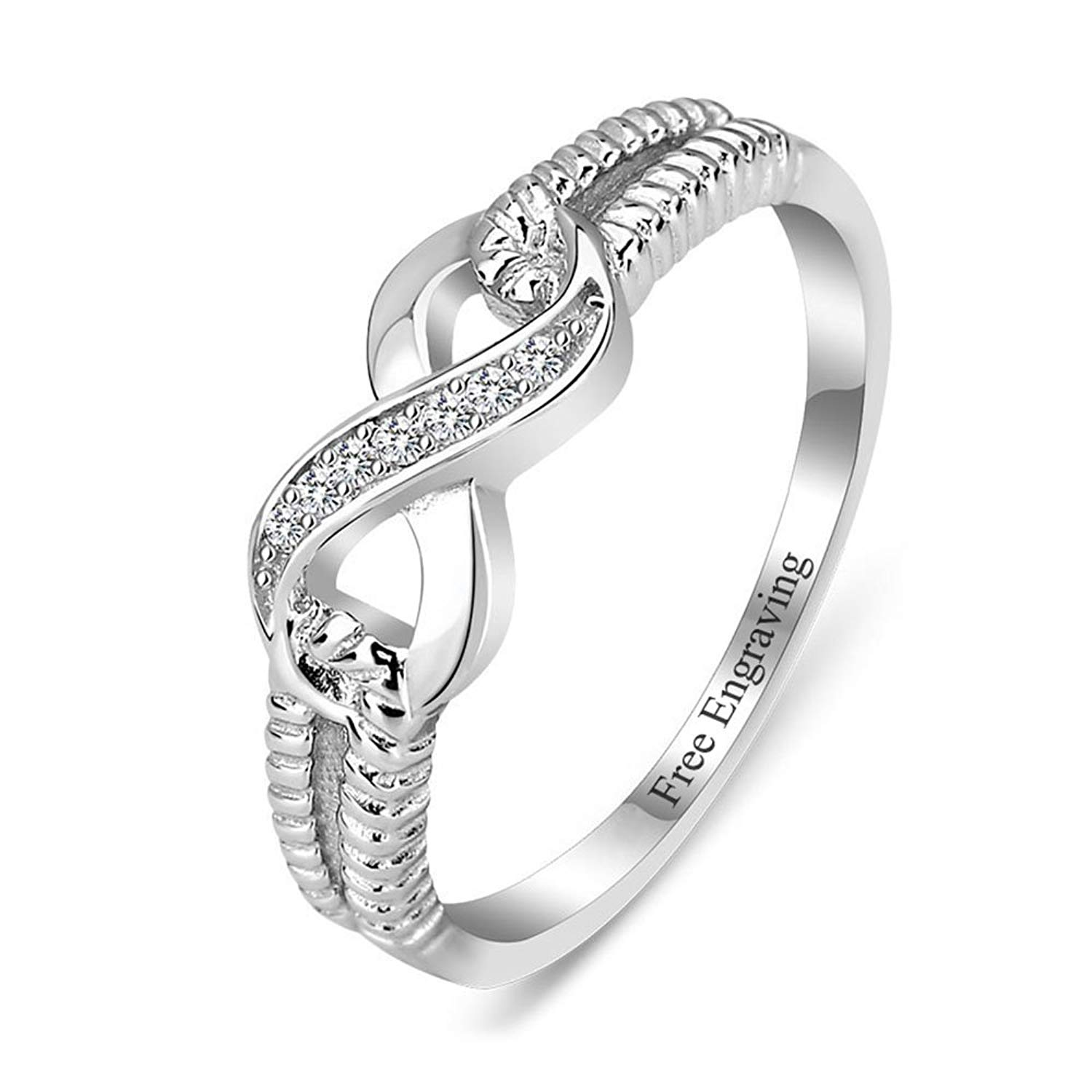 2ab24c8c28f948 Get Quotations · Lam Hub Fong Personalized Infinity Friendship Rings BFF  Rings for Women Sisters Rings Name Rings Promise