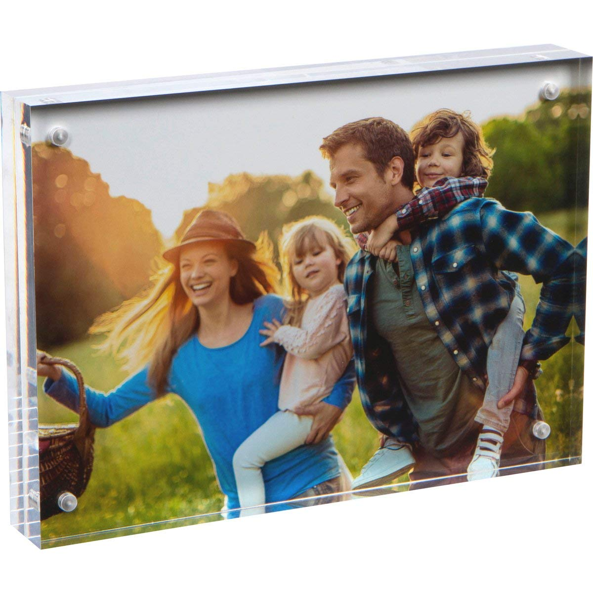 """SimbaLux Magnetic Acrylic Picture Photo Frame 5x7 inches, Clear Glass Like, Double Sided Frameless Desktop Floating Display, Free Standing, Easy Change, for Family, Postcards, 5"""" by 7"""", 2.4cm Thick"""