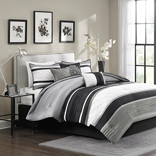 7 Piece Silver Grey Black Striped Comforter King Set, Gray White Adult Bedding Master Bedroom Stylish Patchwork Pintuck Pattern Elegant Themed Traditional Monochromatic Polyester Stripe