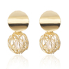 New Fashion Trend Stylish Gold Plated Round Ball Pearl Geometric Earrings
