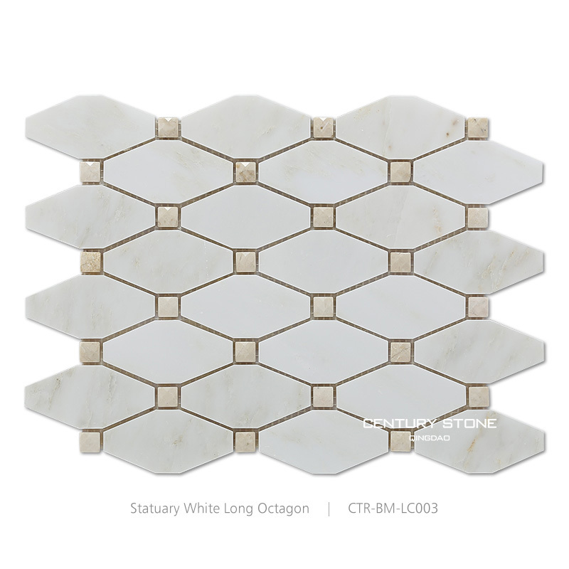 Cheap Polished Carrara White Diamond Shape Bathroom Floor