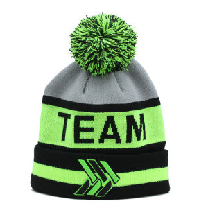 Stylish custom High profile cheap 100% pom-pom beanie