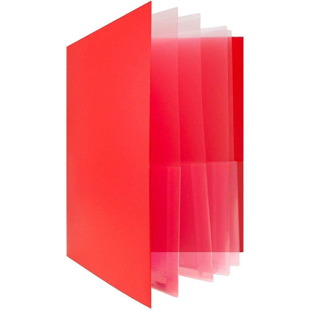 Get Quotations Jam Paper Heavy Duty Plastic Multi Pocket Folders 10 Organizer Red Bulk