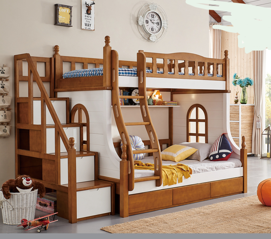 903 Hot Selling Kids Double Deck Bed Cheap Wooden Bunk Bed