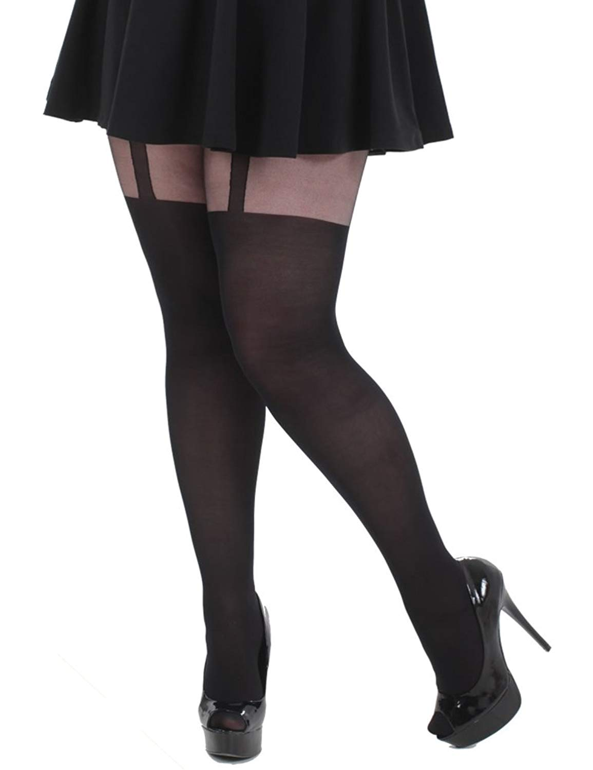 8ce6333aaae Get Quotations · Plus Size Mock Suspender Tights XL to 3x