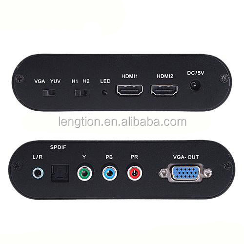 Digital 5.1CH Toslink SPDIF 2 Port HDMI Switch to VGA YPbPr RGB Video Converter 1080P