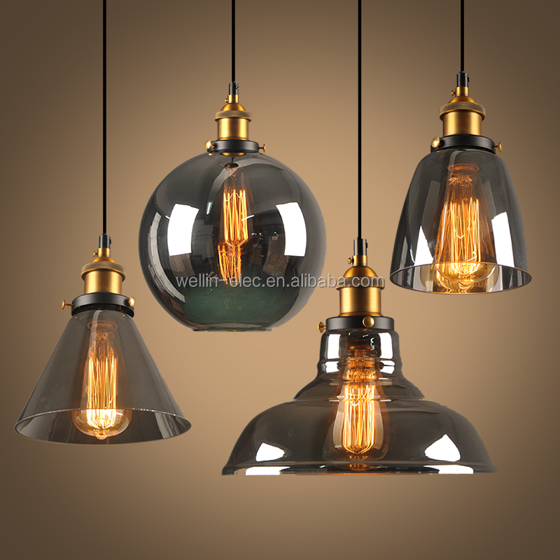 Gl Led Ceiling Light Vintage Home Decor Pendant Lighting Amber Clear Smokey Grey Small Chandelier Hang Lamp