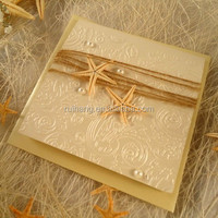 2018starfish decoration classical style with embossed wedding invitation cards