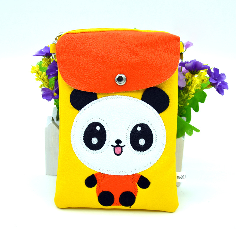 Crossbody Bags For Girls Kids Cute Messenger Bags PU Leather Women Cartoon Panda Shoulder Bags orange red pink blue green yellow