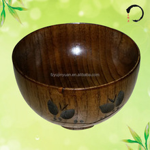 High quality wood lacquer miso soup bowl with carving