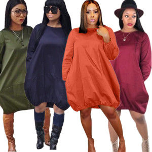 M5128 fashion 6 pure colors long sleeve loose casual dresses women