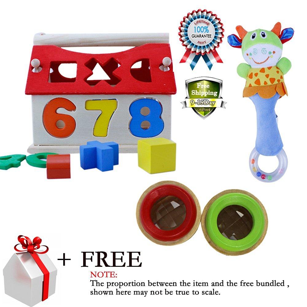 Wooden Educational Toys Digital Number House Blocks Intelligen Shape Learning Toy Magic Bee Eye Effect Kaleidoscope Hand Bells Animal Model Long Handbell Rattles Gift
