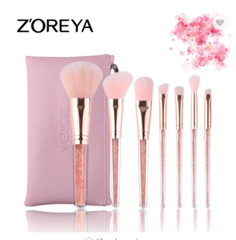 Zoreya 7-tlg Crystal Foundation Kosmetik Make-up Pinsel-Set mit rosa Tasche