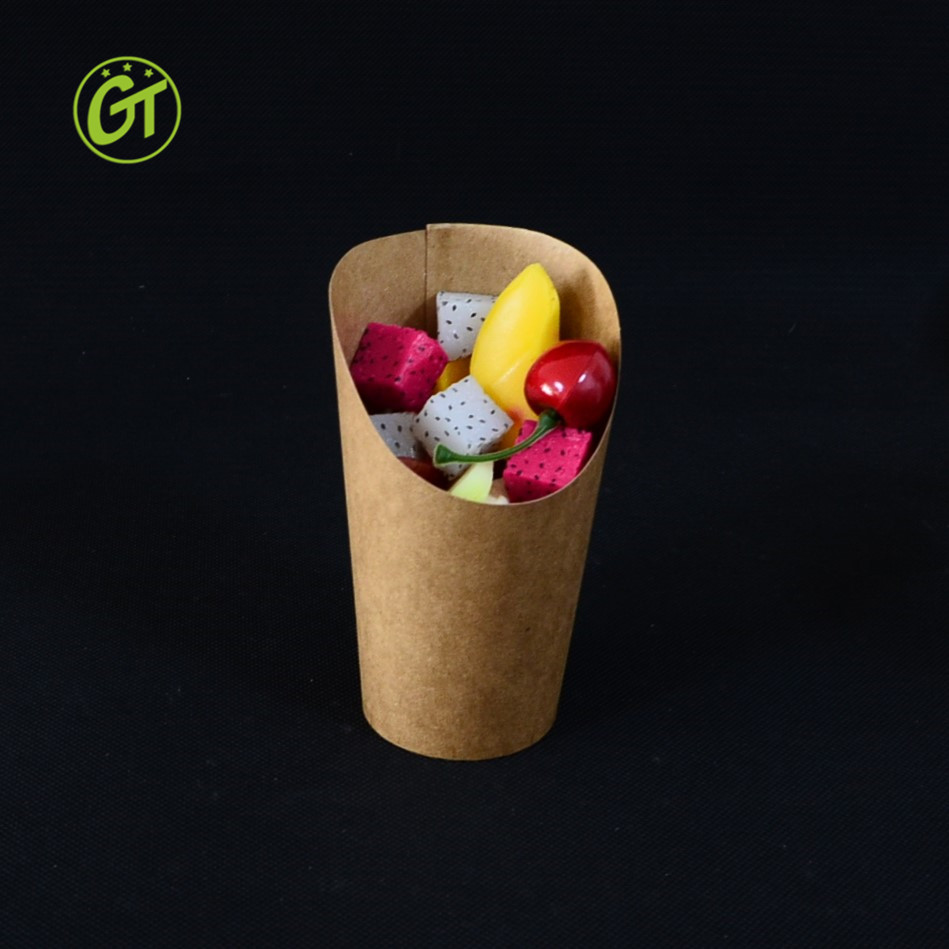 Disposal Take-out Party Frozen Dessert Supplies Egg Puff Waffle French Fries Chips scoop Ice Cream Snacks Kraft Paper Cup holder