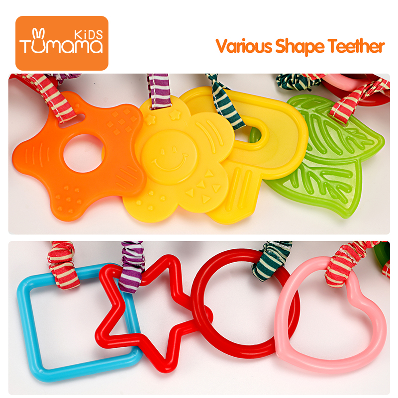 colorful soft infant rattle and teether toy plush hanging baby rattles