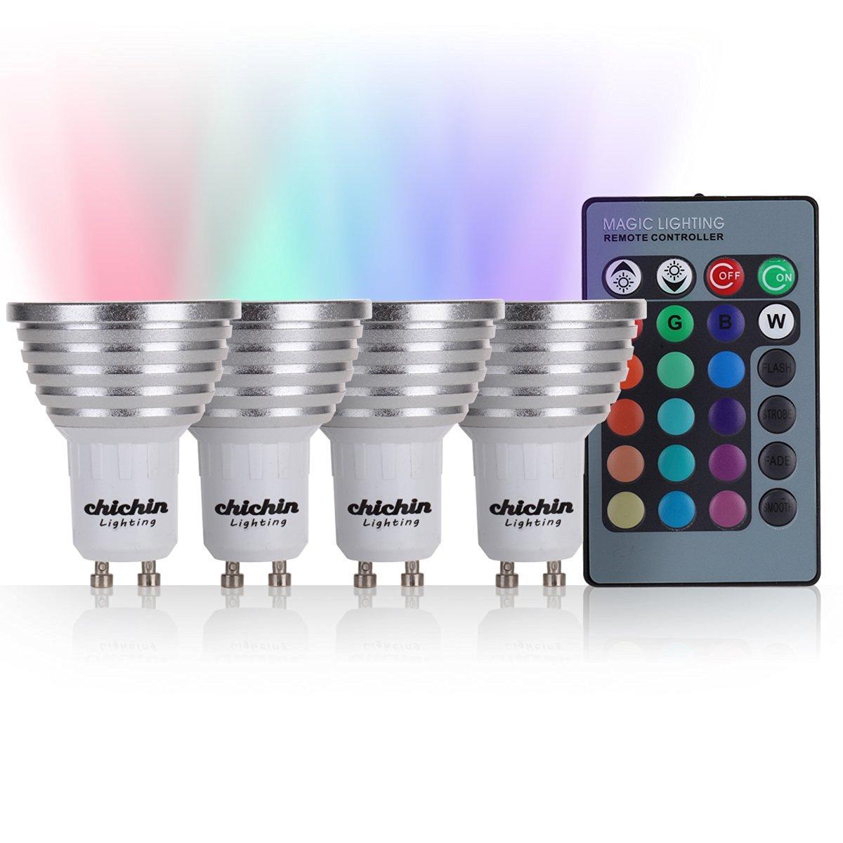 ChiChinLighting RGB LED Bulb RGB Gu10 RGB Spotlight pack of 4 pieces controlled by one wireless controller, Color Changing led Lights and Color changing Gu10, moody led bulbs RBG led bulb