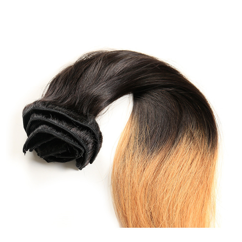 "12"" 14"" 16"" 18"" 20"" 22"" 24"" 26""Brazilian Remy Hair Full Head Clip in Human Hair Extensions Straight Ombre T1b/27"