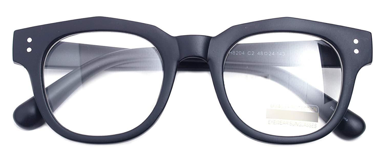 c7a6ca6ddc20 Get Quotations · Oversized Square Thick Horn Rimmed Clear Lens Glasses  Rivet Non-prescription Frame