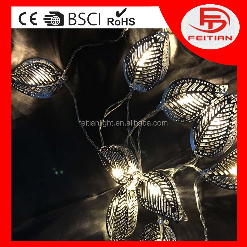 2016 Copper Material LED spring light leave shape battery controlled ball light