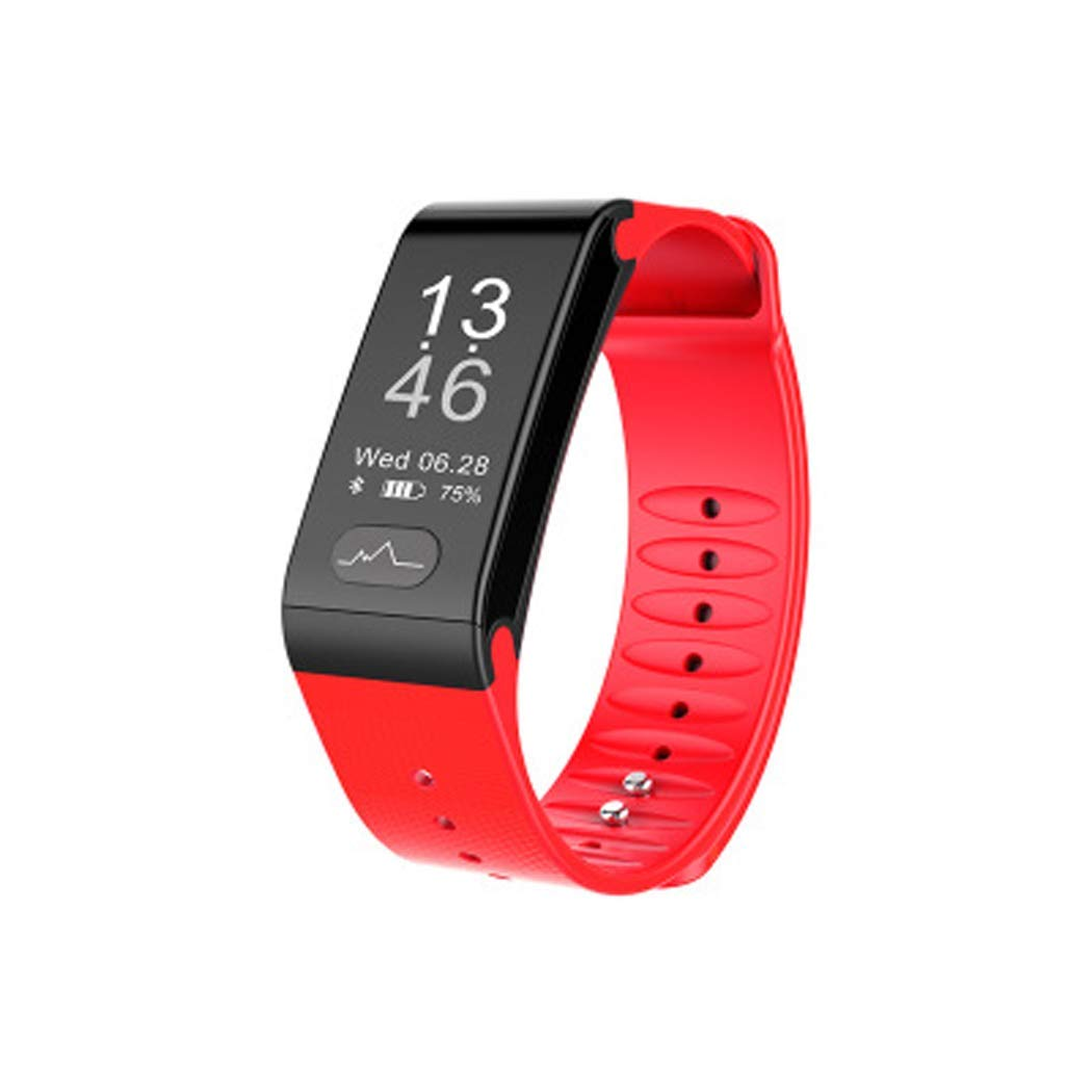 YWY Smart Bracelet Heart Rate Blood Pressure Monitoring Pedometer ECG Test Waterproof Message Push Call Reminder Sports Smart Watch (Color : Red)