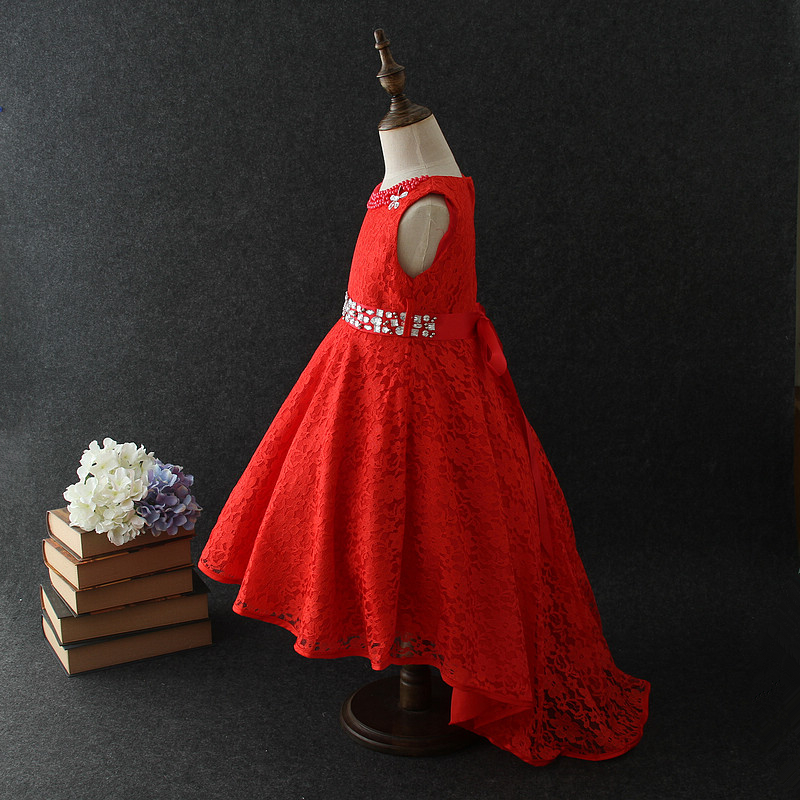 2018 fashion kids party wear girl dress Red Pakistan and Indian front short back long kids wedding dress for 10 years old