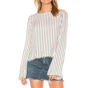 YL autumn new fashion high quality cheap women stripe top young ladies long sleeve v back pullover top for china wholesale